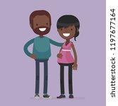 pregnant cute couple vector...   Shutterstock .eps vector #1197677164