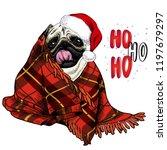 hand drawn portrait of pug dog... | Shutterstock .eps vector #1197679297