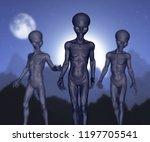3d render of spooky aliens... | Shutterstock . vector #1197705541