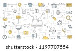 omnichannel concept. many... | Shutterstock .eps vector #1197707554