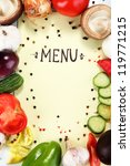menu surrounded by products and ... | Shutterstock . vector #119771215