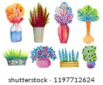 set of hand painted watercolor... | Shutterstock . vector #1197712624