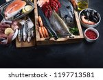 fresh fish and seafood variety... | Shutterstock . vector #1197713581