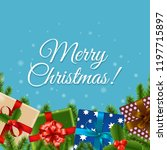 christmas retro card  | Shutterstock . vector #1197715897