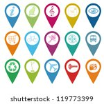 set of icons for markers on maps | Shutterstock . vector #119773399