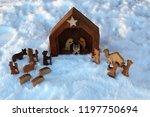 religious christmas manger made ...   Shutterstock . vector #1197750694
