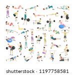 set of people doing exercises... | Shutterstock .eps vector #1197758581