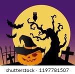 halloween pumpkin graveyard... | Shutterstock .eps vector #1197781507