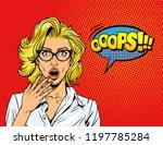 comic surprised pretty girl... | Shutterstock .eps vector #1197785284