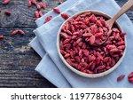 superfood goji berries in... | Shutterstock . vector #1197786304