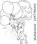 Stock vector coloring page outline of cartoon rabbit with balloons vector illustration coloring book for kids 1197796414