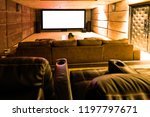 home theater with big screen.  | Shutterstock . vector #1197797671