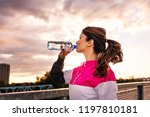 side view of fitness woman... | Shutterstock . vector #1197810181