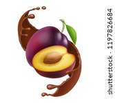 plum in chocolate splash of... | Shutterstock .eps vector #1197826684