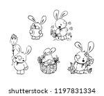 set of cute litle bunny for... | Shutterstock .eps vector #1197831334