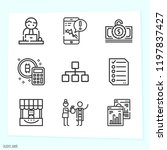 simple set of 9 icons related... | Shutterstock .eps vector #1197837427