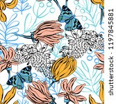 seamless pattern with... | Shutterstock .eps vector #1197845881