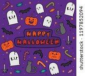 cute happy halloween cartoon...   Shutterstock .eps vector #1197852094