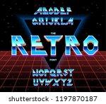 alphabet 80's retro font.vector ... | Shutterstock .eps vector #1197870187