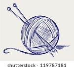 Yarn Balls With Needles. Doodl...