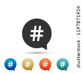 hashtag in circle icon on white ... | Shutterstock .eps vector #1197871924