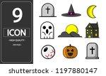 halloween icons set symbol...   Shutterstock .eps vector #1197880147