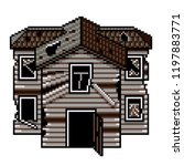pixel art old abandoned house... | Shutterstock .eps vector #1197883771