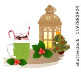 christmas theme  cup of coffee  ... | Shutterstock .eps vector #1197883924