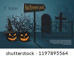 halloween party on night... | Shutterstock .eps vector #1197895564