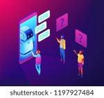 users in front of huge mobile... | Shutterstock .eps vector #1197927484
