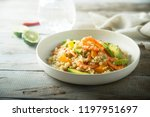 shrimp avocado quinoa with... | Shutterstock . vector #1197951697