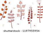 set of cartoon flowers isolated ... | Shutterstock . vector #1197955954