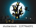 halloween day pumpkins with... | Shutterstock .eps vector #1197966091
