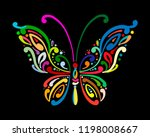 ornate colorful butterfly for... | Shutterstock .eps vector #1198008667