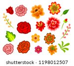 mexican flowers isolated on... | Shutterstock .eps vector #1198012507