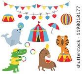 circus theme. set of circus... | Shutterstock .eps vector #1198018177