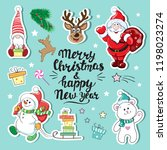 christmas patch badges with... | Shutterstock .eps vector #1198023274