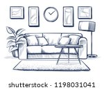 sketch interior. doodle living... | Shutterstock .eps vector #1198031041