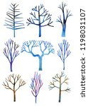 set of hand drawn watercolor... | Shutterstock . vector #1198031107
