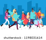 people on winter holiday.... | Shutterstock .eps vector #1198031614