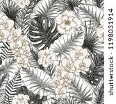 exotic flowers and leaves... | Shutterstock .eps vector #1198031914