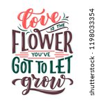lettering quote about flowers ... | Shutterstock .eps vector #1198033354