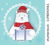 paper art of polar bear with... | Shutterstock .eps vector #1198043461