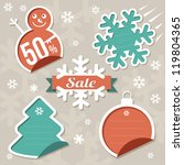 christmas sticker tags   sale | Shutterstock .eps vector #119804365