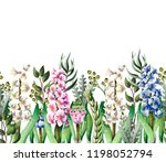 border with hyacinths and wild... | Shutterstock .eps vector #1198052794