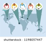 distance learning or working... | Shutterstock .eps vector #1198057447