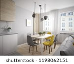 modern and cheerful dining room ... | Shutterstock . vector #1198062151