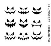 scary pumpkin faces | Shutterstock .eps vector #1198067464