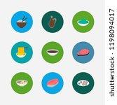 sushi icons set. saba nigiri...