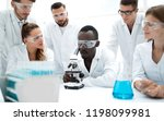 group of young scientists... | Shutterstock . vector #1198099981
